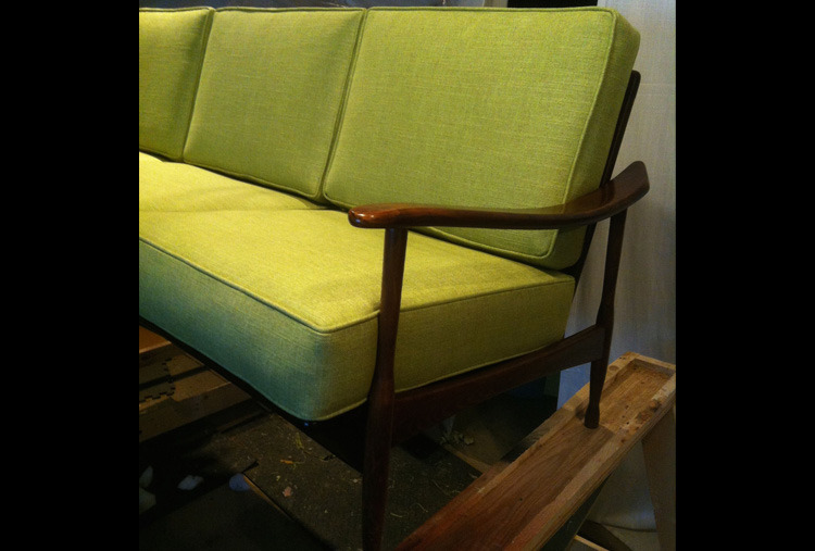 Danish style sofa with loose cushions